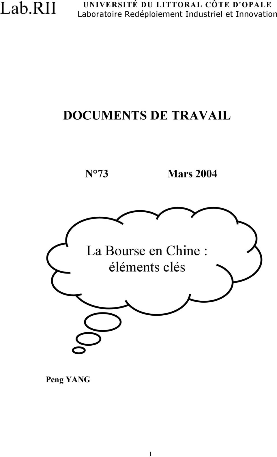 Innovation DOCUMENTS DE TRAVAIL N 73 Mars