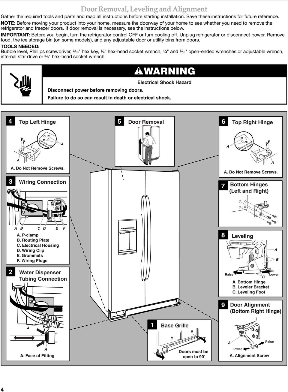 If door removal is necessary, see the instructions below. IMPORTNT: Before you begin, turn the refrigerator control OFF or turn cooling off. Unplug refrigerator or disconnect power.