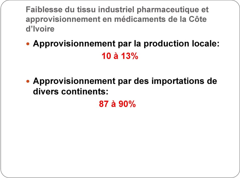 Approvisionnement par la production locale: 10 à 13%
