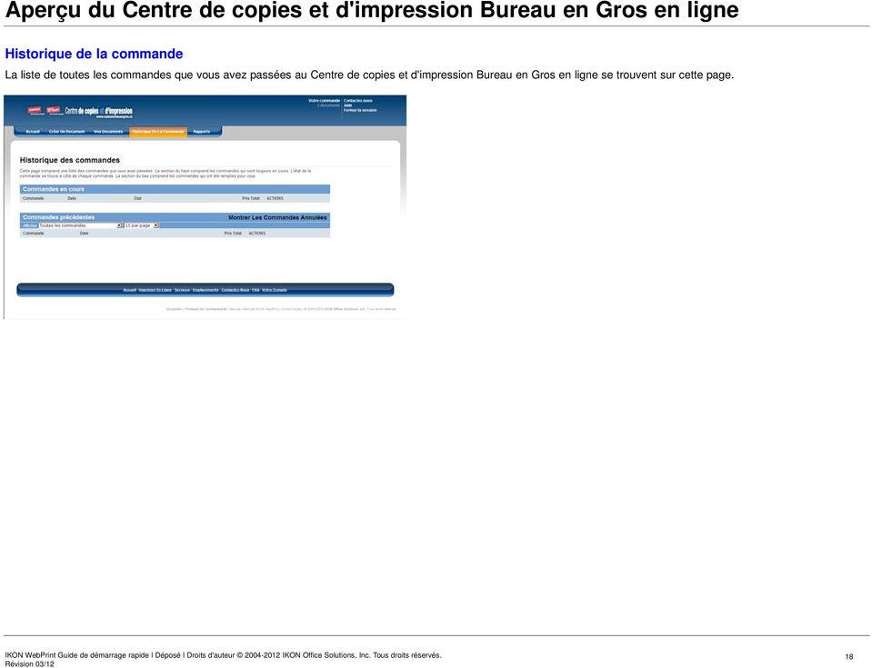 au Centre de copies et d'impression Bureau