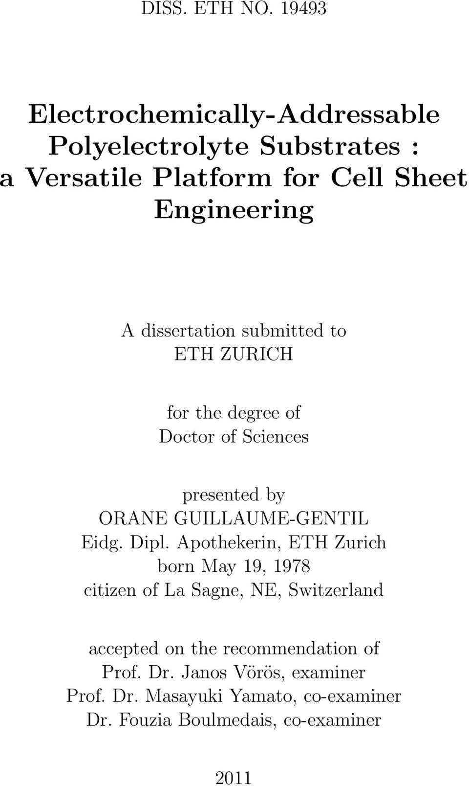 dissertation submitted to ETH ZURICH for the degree of Doctor of Sciences presented by ORANE GUILLAUME-GENTIL Eidg.