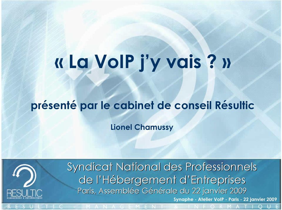 Lionel Chamussy Syndicat National des