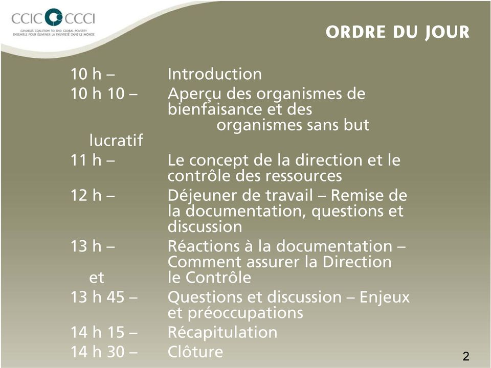 la documentation, questions et discussion 13 h Réactions à la documentation Comment assurer la Direction