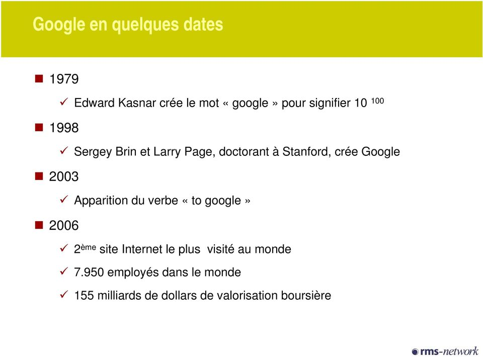 Apparition du verbe «to google» 2006 2 ème site Internet le plus visité au