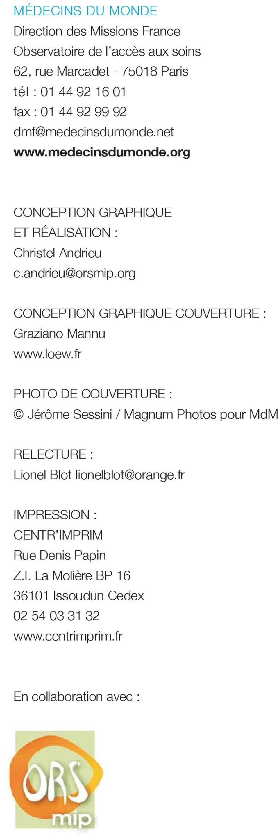 org CONCEPTION GRAPHIQUE COUVERTURE : Graziano Mannu www.loew.