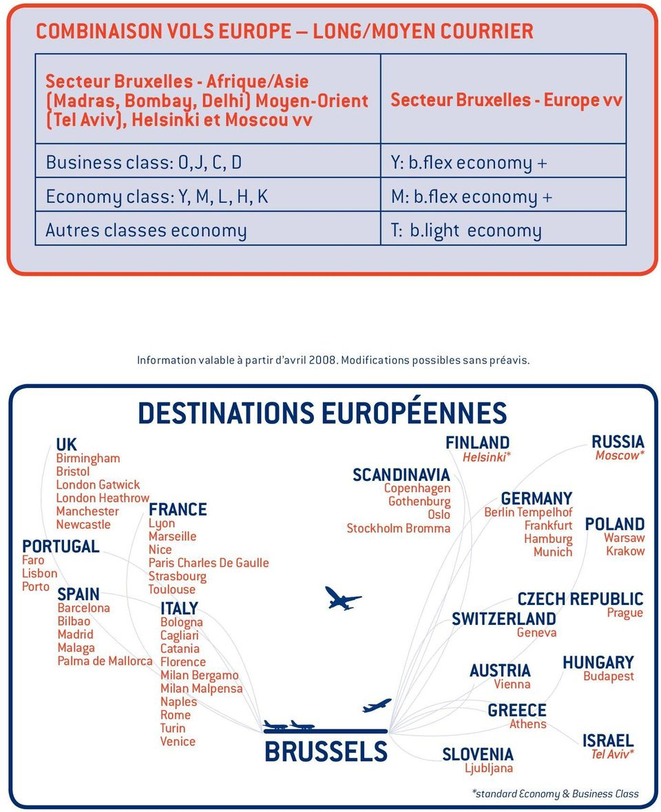 light economy UK Birmingham Bristol London Gatwick London Heathrow Manchester Newcastle PORTUGAL Faro Lisbon Porto SPAIN Barcelona Bilbao Madrid Malaga Palma de Mallorca Information valable à partir