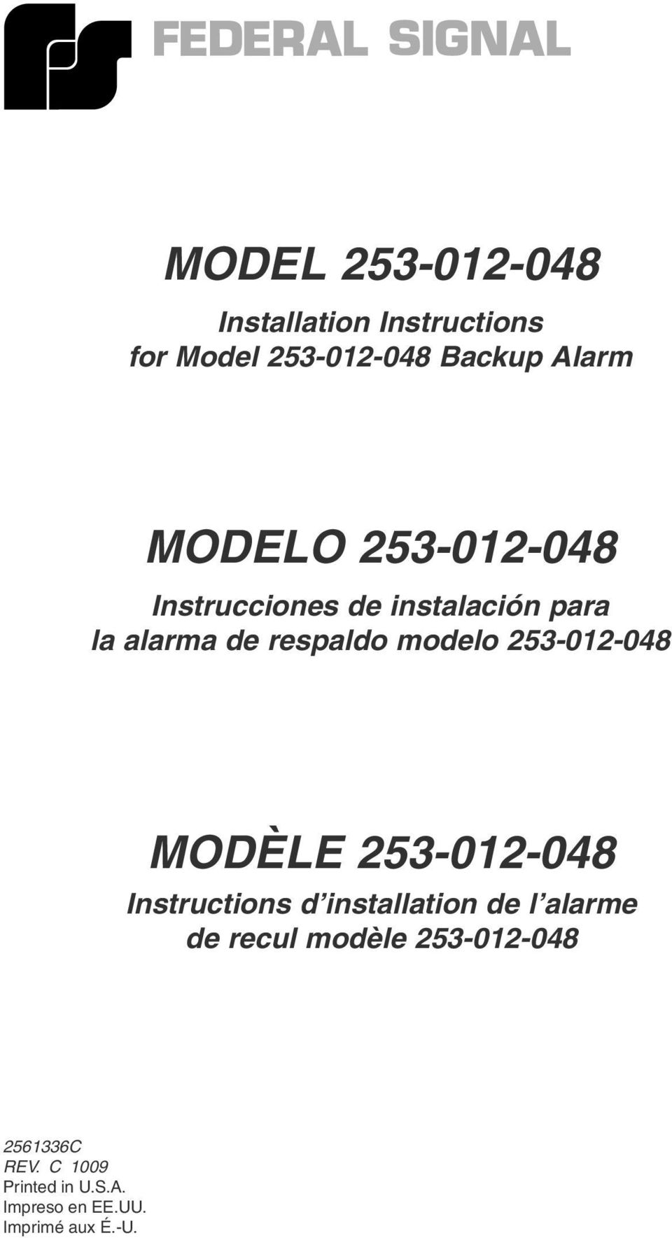 253-012-048 MODÈLE 253-012-048 Instructions d installation de l alarme de recul
