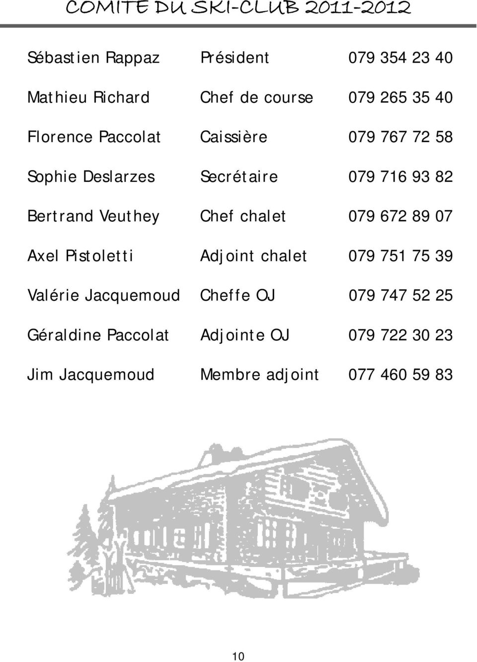 Veuthey Chef chalet 079 672 89 07 Axel Pistoletti Adjoint chalet 079 751 75 39 Valérie Jacquemoud Cheffe
