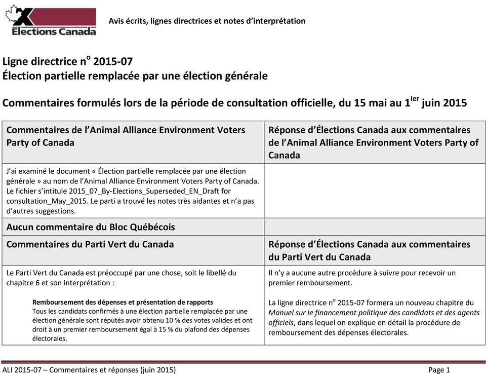 de l Animal Alliance Environment Voters Party of Canada. Le fichier s intitule 2015_07_By-Elections_Superseded_EN_Draft for consultation_may_2015.