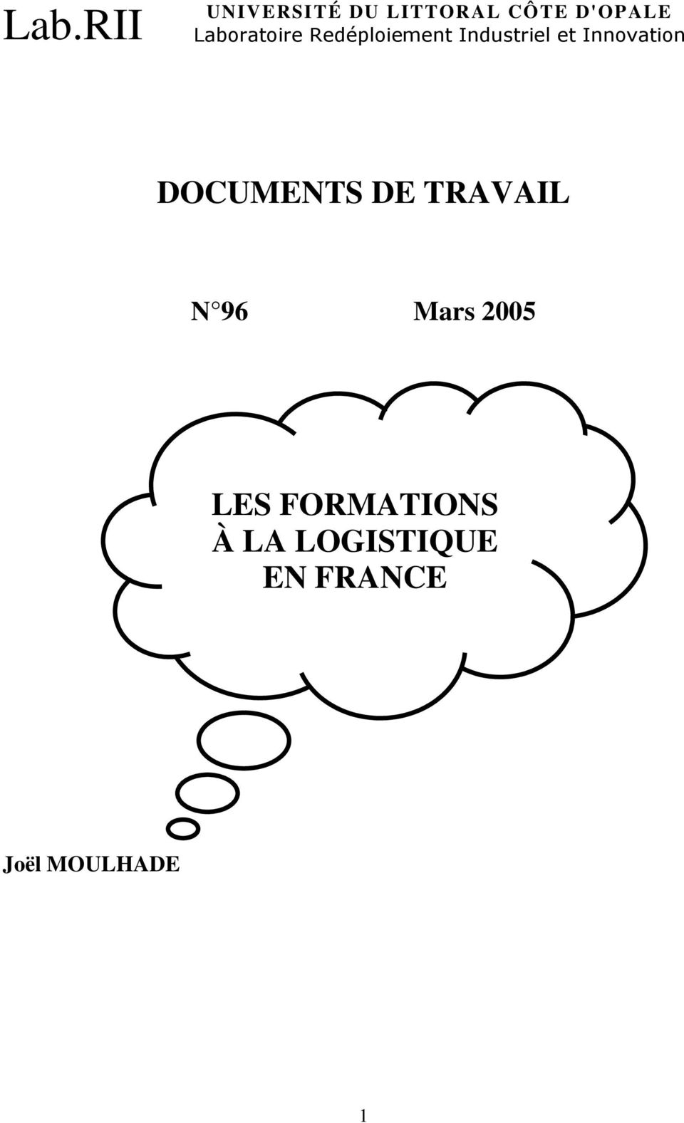 Innovation DOCUMENTS DE TRAVAIL N 96 Mars 2005