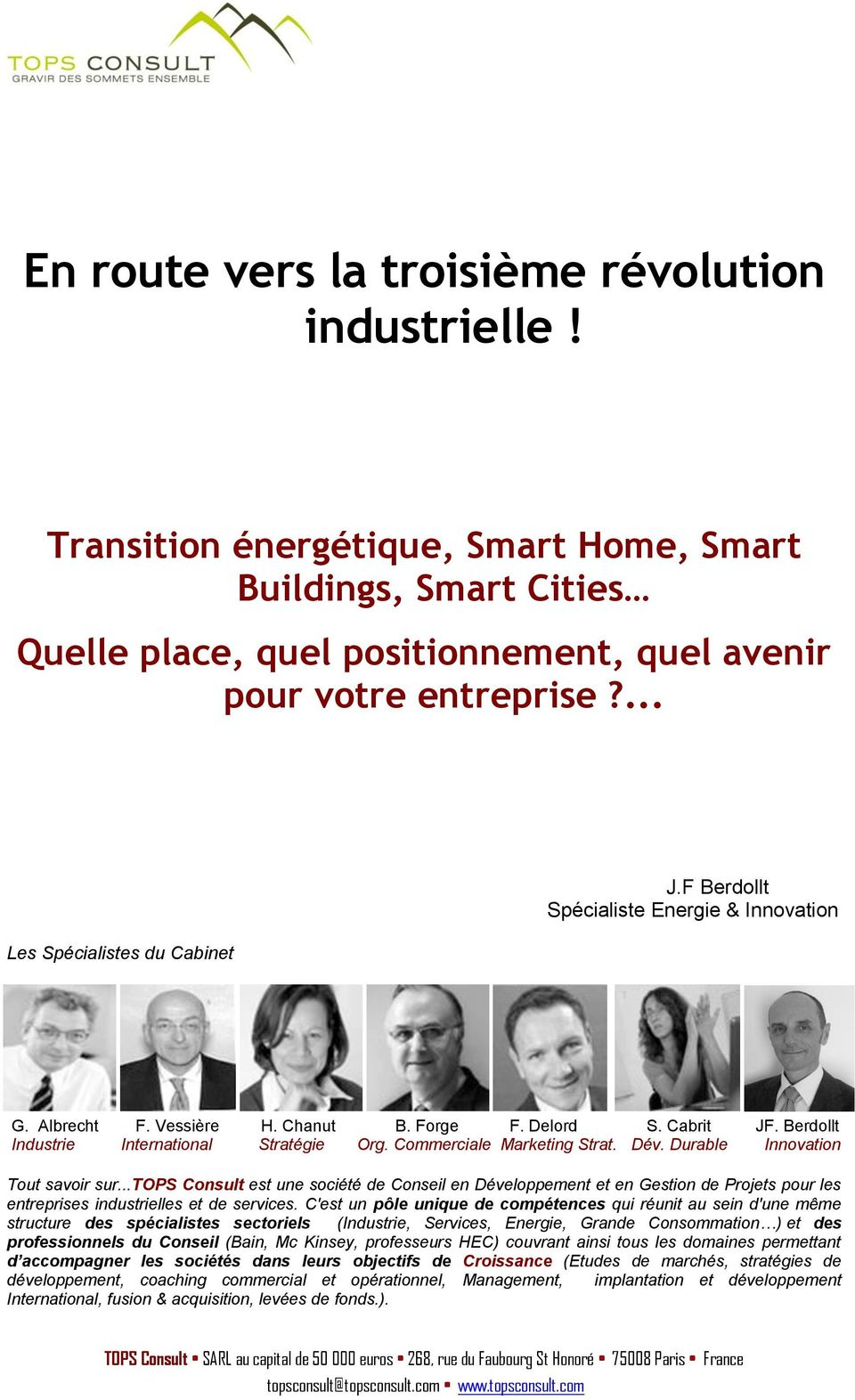 Commerciale Marketing Strat. Dév. Durable Innovation Tout savoir sur.