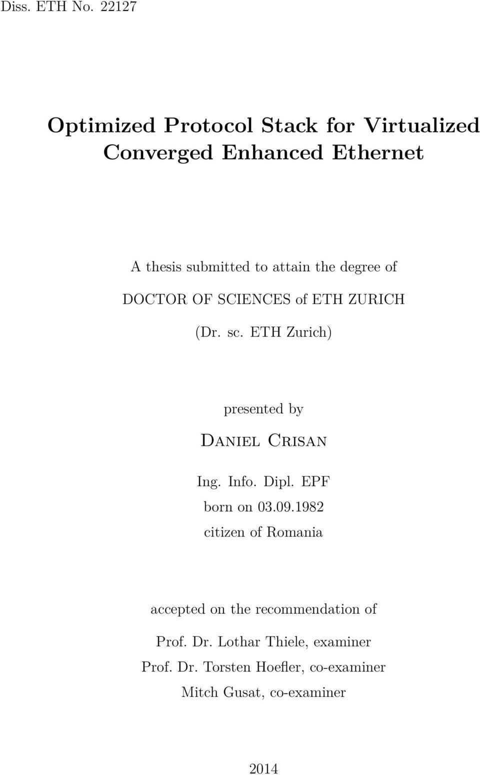 attain the degree of DOCTOR OF SCIENCES of ETH ZURICH (Dr. sc.