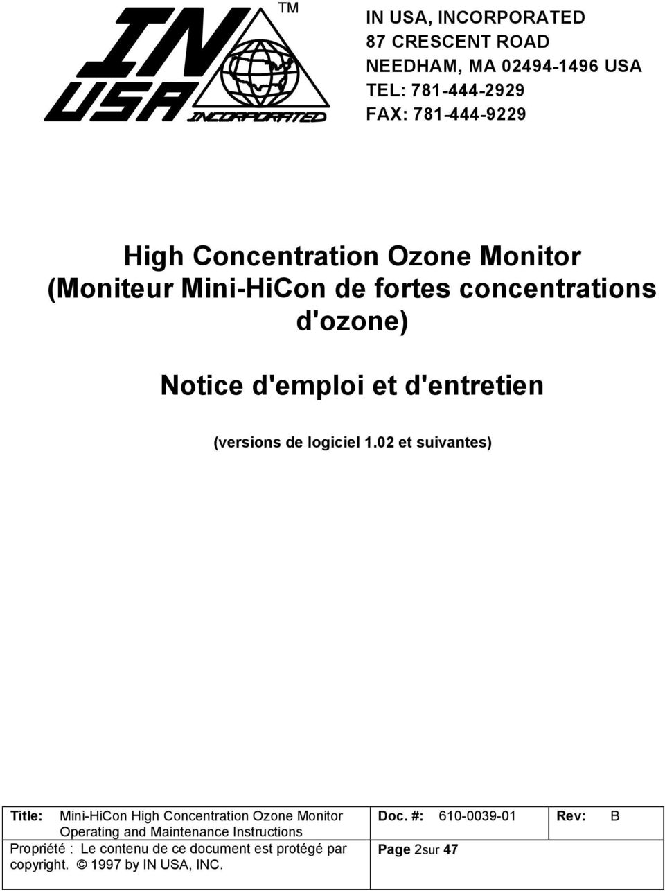 (Moniteur Mini-HiCon de fortes concentrations d'ozone) Notice