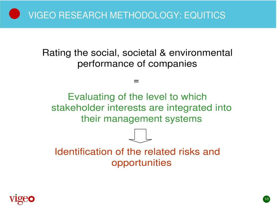 level to which stakeholder interests are integrated into their