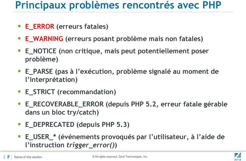 interprétation) E_STRICT (recommandation) E_RECOVERABLE_ERROR (depuis PHP 5.
