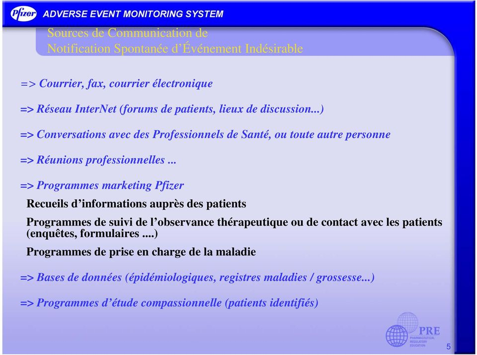 .. => Programmes marketing Pfizer Recueils d informations auprès des patients Programmes de suivi de l observance thérapeutique ou de contact avec les patients