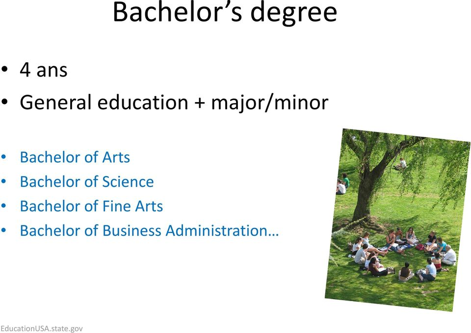 Science Bachelor of Fine Arts Bachelor of