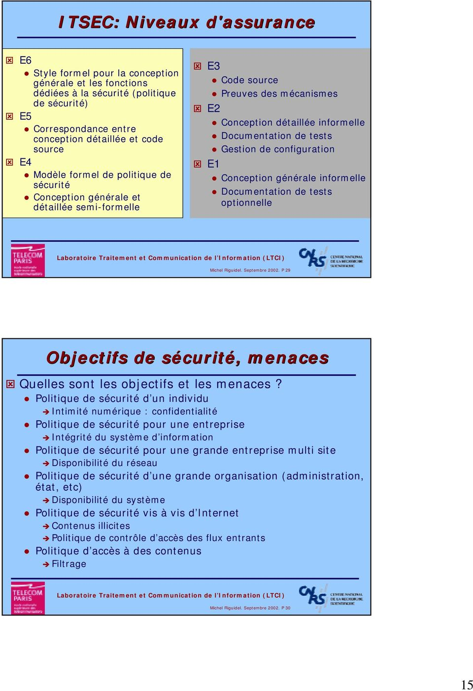 configuration E1 Conception générale informelle Documentation de tests optionnelle Michel Riguidel. Septembre 2002.