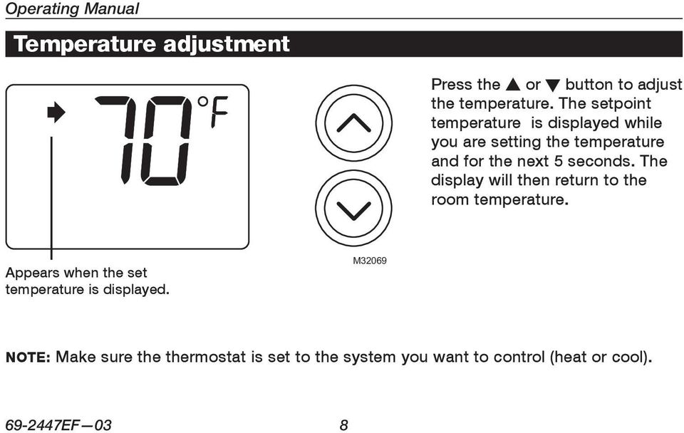 The setpoint temperature is displayed while you are setting the temperature and for the next 5 seconds.