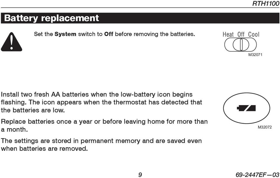 The icon appears when the thermostat has detected that the batteries are low.