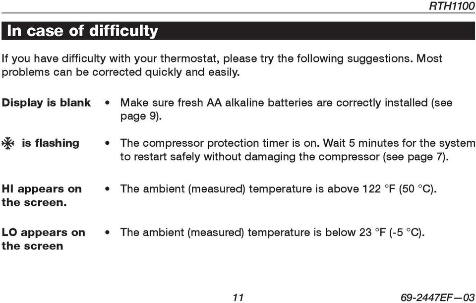 LO appears on the screen Make sure fresh AA alkaline batteries are correctly installed (see page 9). The compressor protection timer is on.