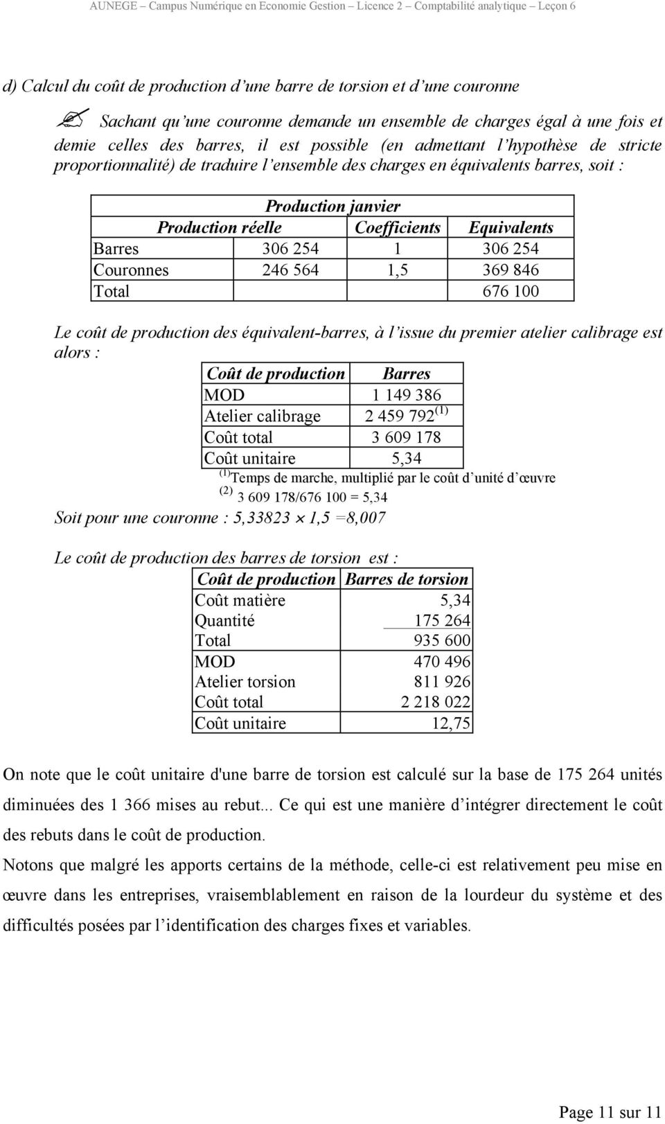 charges en équivalents barres, soit : Production janvier Production réelle Coefficients Equivalents Barres 306 254 1 306 254 Couronnes 246 564 1,5 369 846 Total 676 100 Le coût de production des