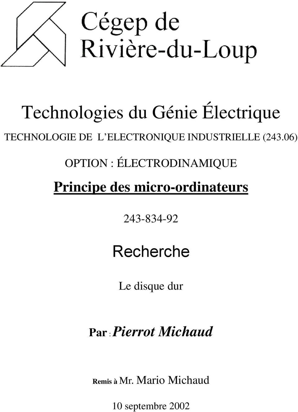06) OPTION : ÉLECTRODINAMIQUE Principe des micro-ordinateurs