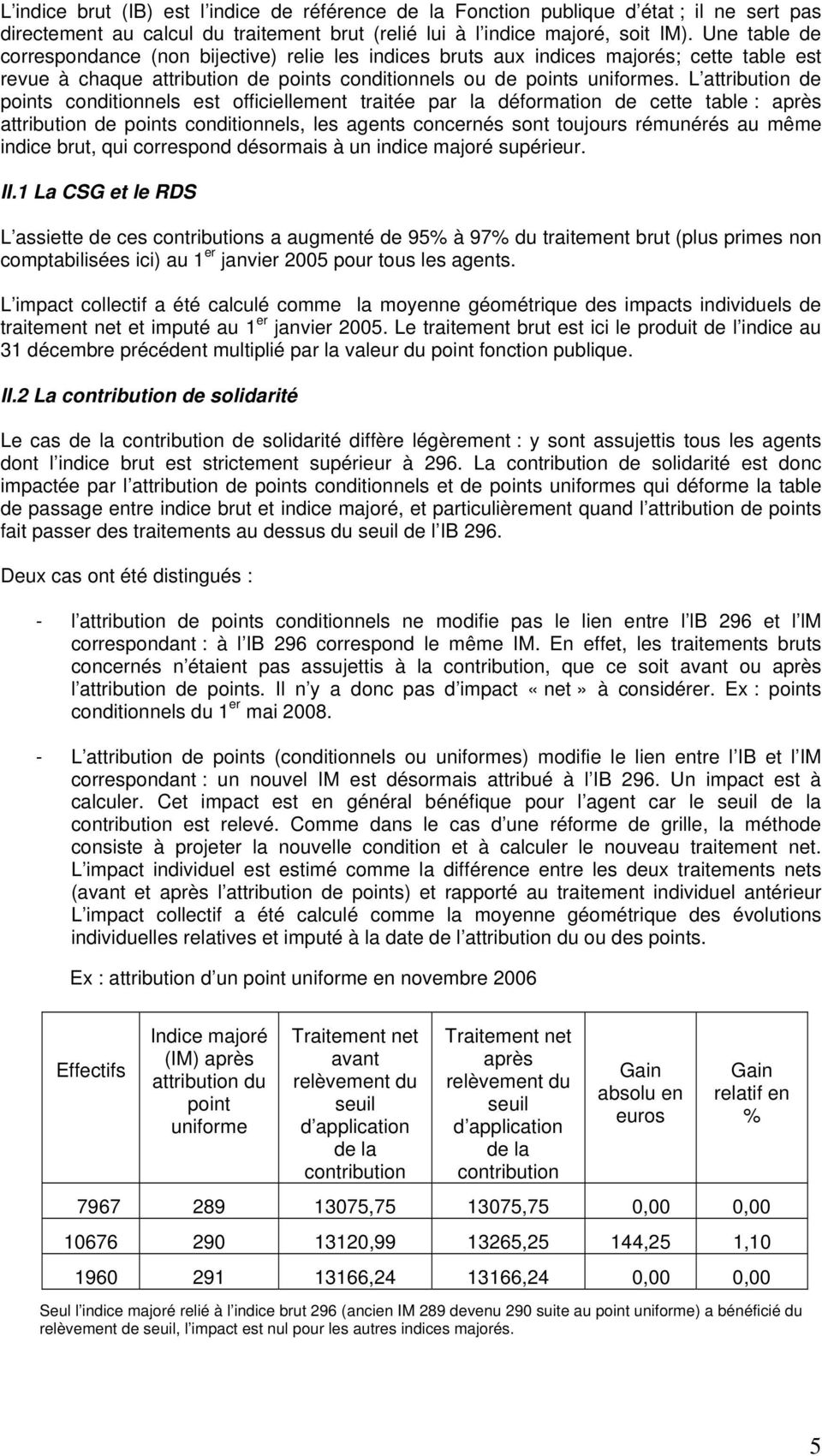 L attribution de points conditionnels est officiellement traitée par la déformation de cette table : après attribution de points conditionnels, les agents concernés sont toujours rémunérés au même