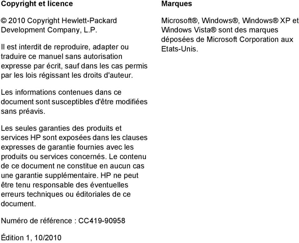 Marques Microsoft, Windows, Windows XP et Windows Vista sont des marques déposées de Microsoft Corporation aux Etats-Unis.