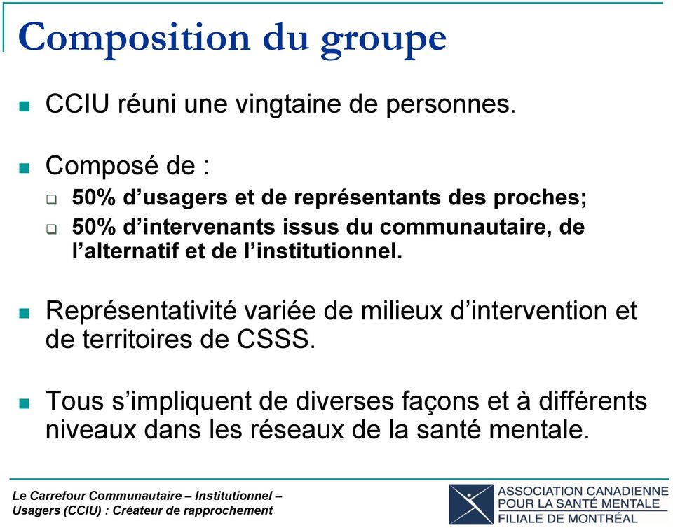 communautaire, de l alternatif et de l institutionnel.