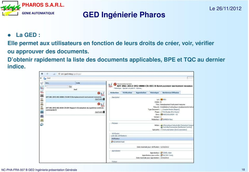 D obtenir rapidement la liste des documents applicables, BPE et