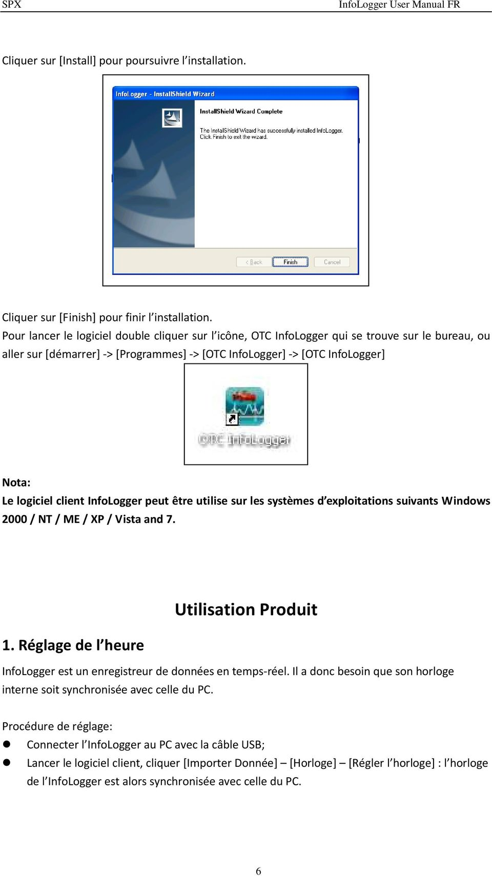 Infologger user manual fr infologger manuel d utilisation - Horloge sur le bureau windows 7 ...