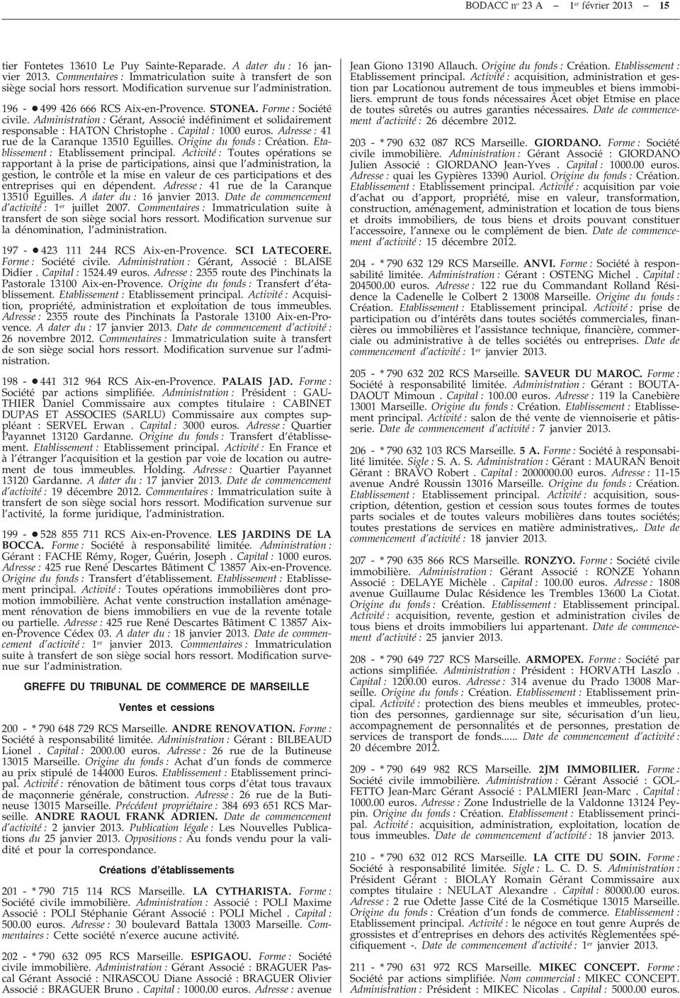 BODACC BULLETIN OFFICIEL DES ANNEXÉ AU JOURNAL OFFICIEL DE
