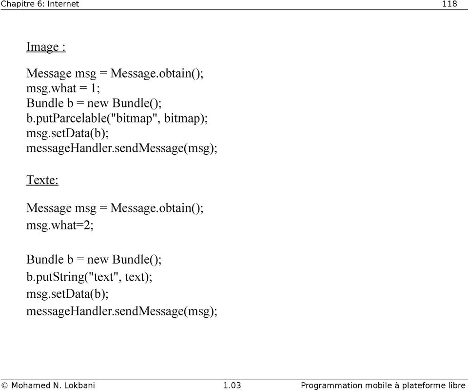 setdata(b); messagehandler.sendmessage(msg); Texte: Message msg = Message.