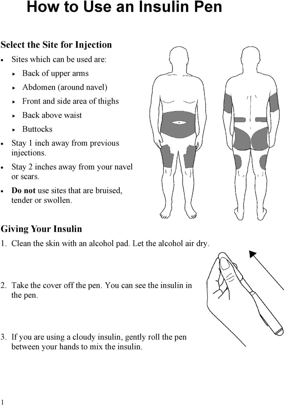 Do not use sites that are bruised, tender or swollen. Giving Your Insulin 1. Clean the skin with an alcohol pad. Let the alcohol air dry. 2.