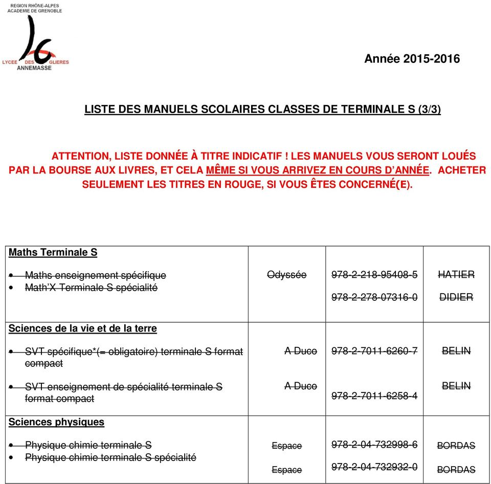 terminale S format compact A Duco 978-2-7011-6260-7 BELIN SVT enseignement de spécialité terminale S format compact A Duco