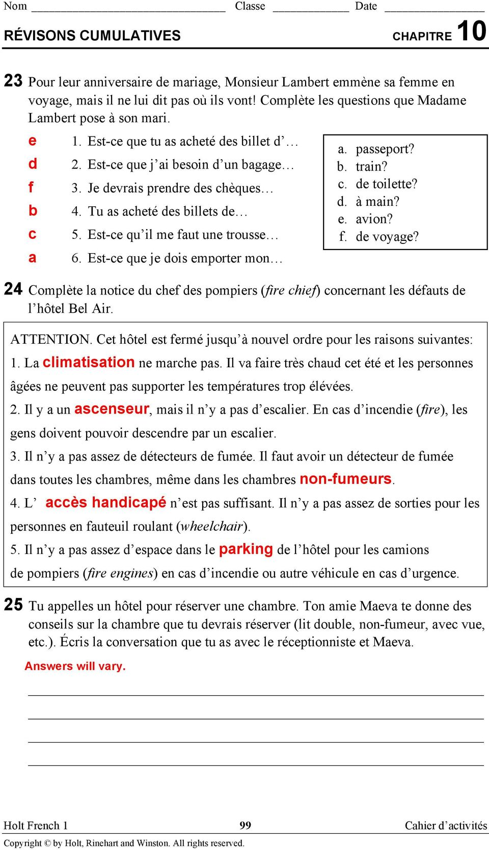 Workbooks holt french 3 bien dit workbook answers free printable chapitre 10 pdf workbooks holt fandeluxe Image collections