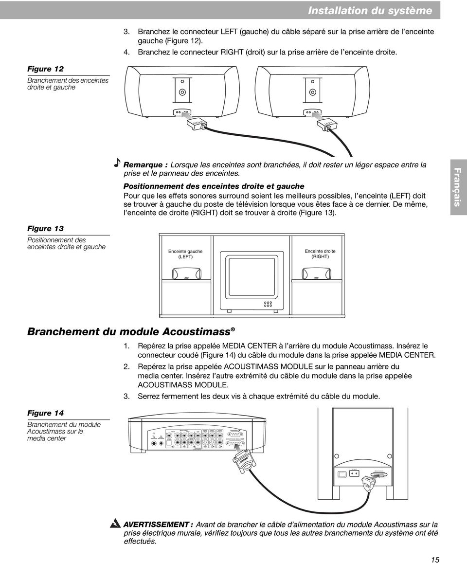 Bose And Gs Home Entertainment Systems Notice D Utilitsation Pdf # Emplacement Enceinte Home Cinema