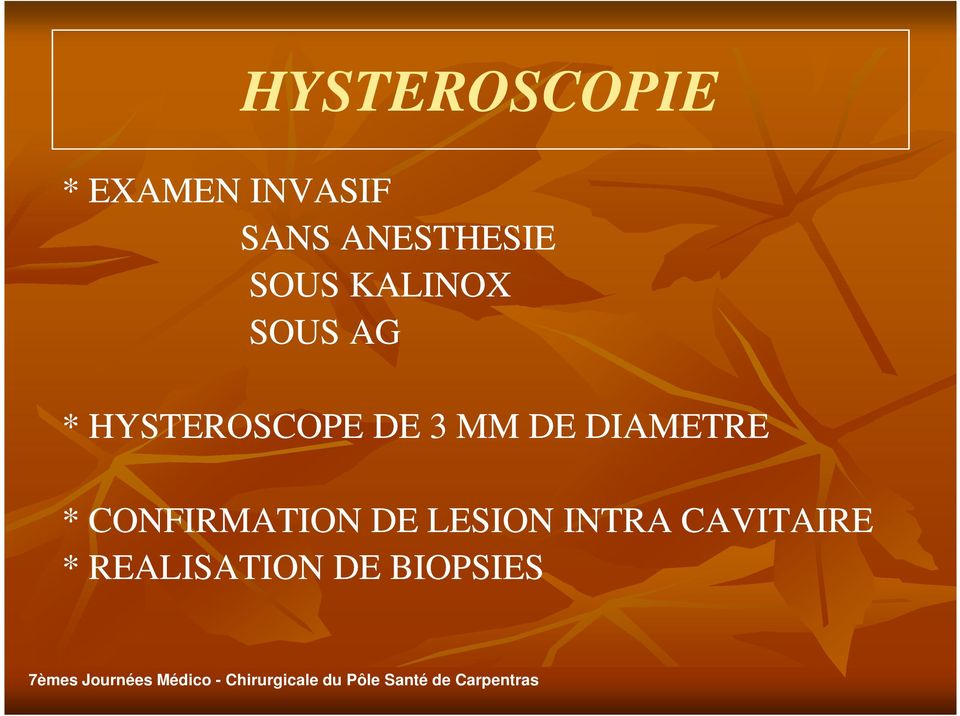 HYSTEROSCOPE DE 3 MM DE DIAMETRE *