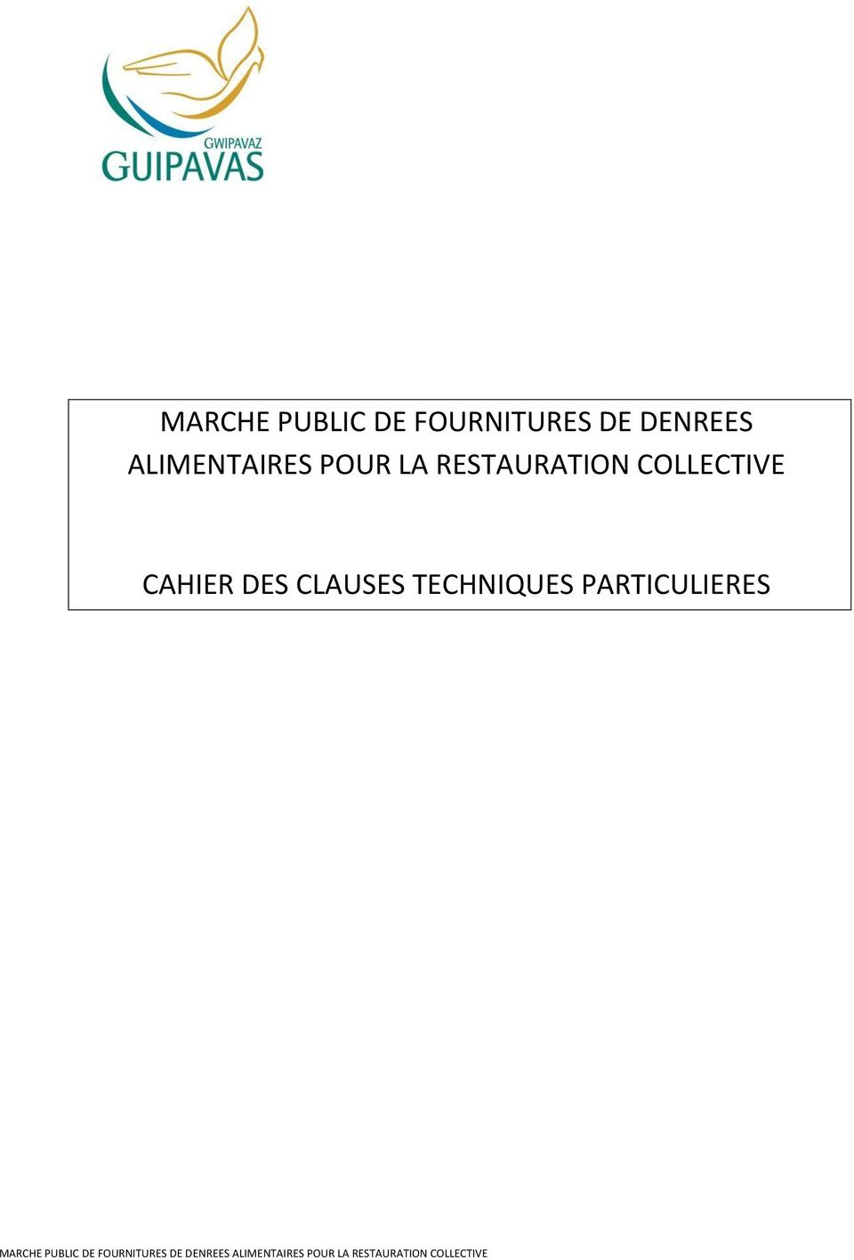 RESTAURATION COLLECTIVE CAHIER