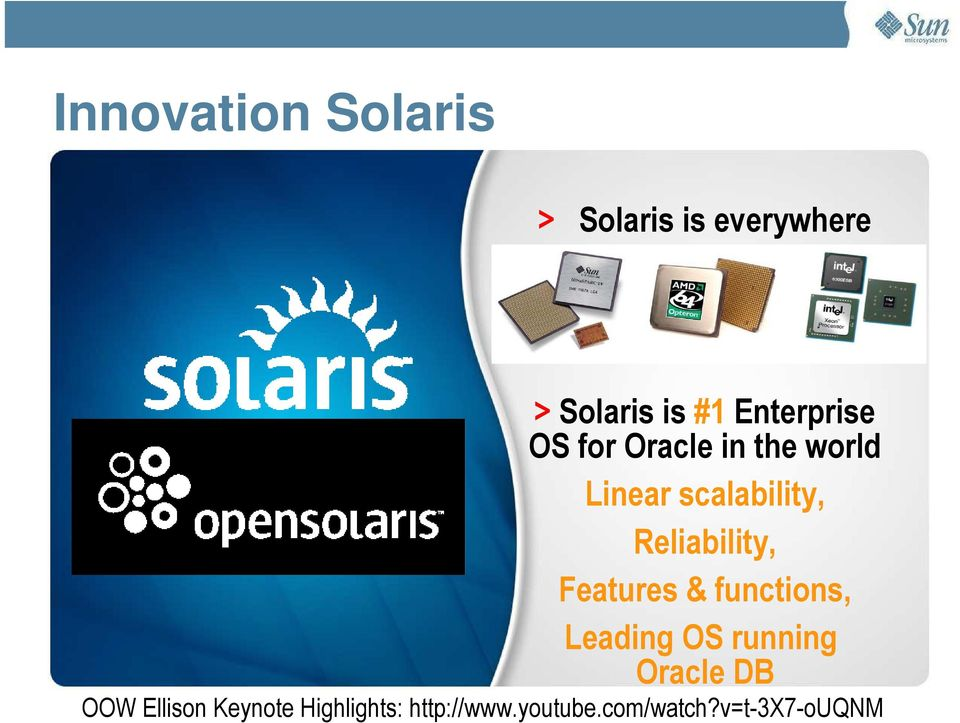 Reliability, Features & functions, Leading OS running Oracle DB