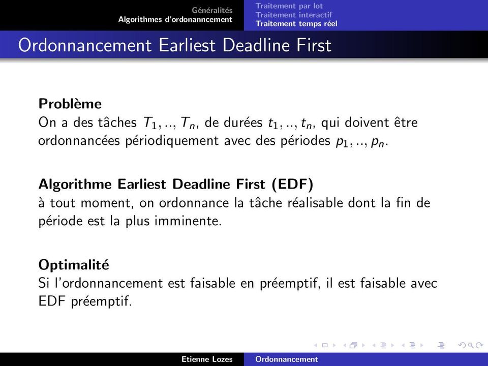 Algorithme Earliest Deadline First (EDF) à tout moment, on ordonnance la tâche réalisable dont la