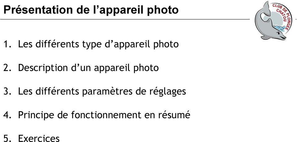 Description d un appareil photo 3.