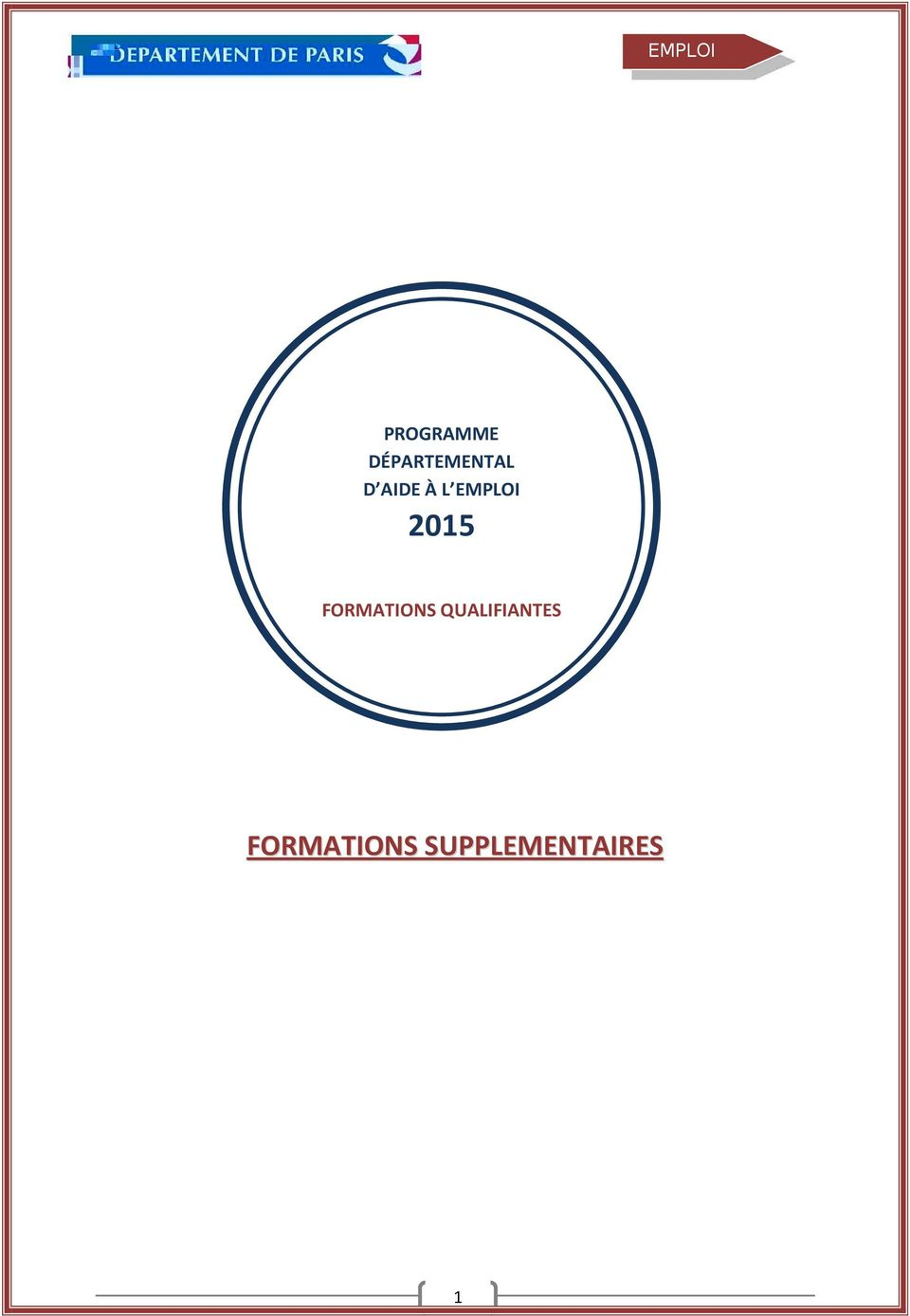 EMPLOI 2015 FORMATIONS