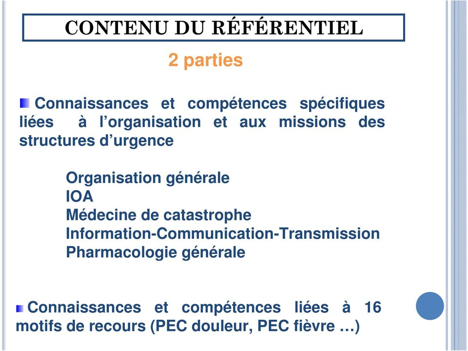 Médecine de catastrophe Information-Communication-Transmission Pharmacologie