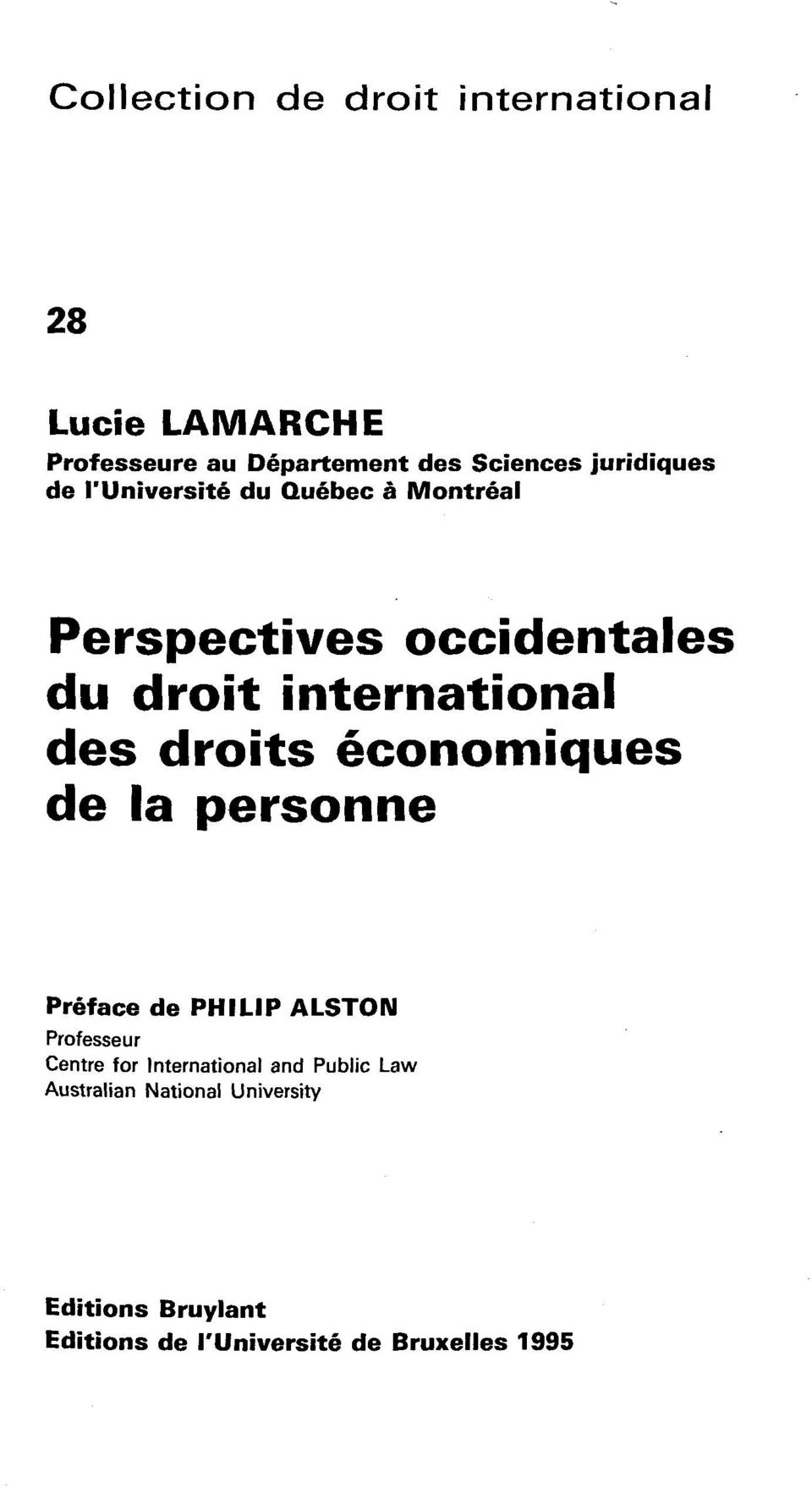 des droits economiques de la personne Preface de PHILIP ALSTON Professeur Centre for International