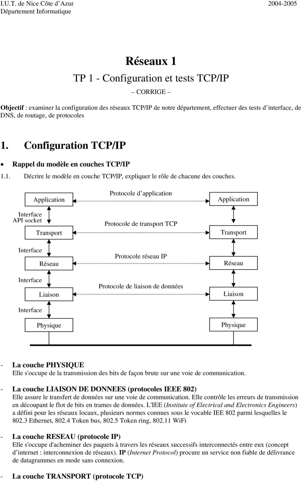 des tests d interface, de DNS, de routage, de protocoles 1. Configuration TCP/IP Rappel du modèle en couches TCP/IP 1.1. Décrire le modèle en couche TCP/IP, expliquer le rôle de chacune des couches.