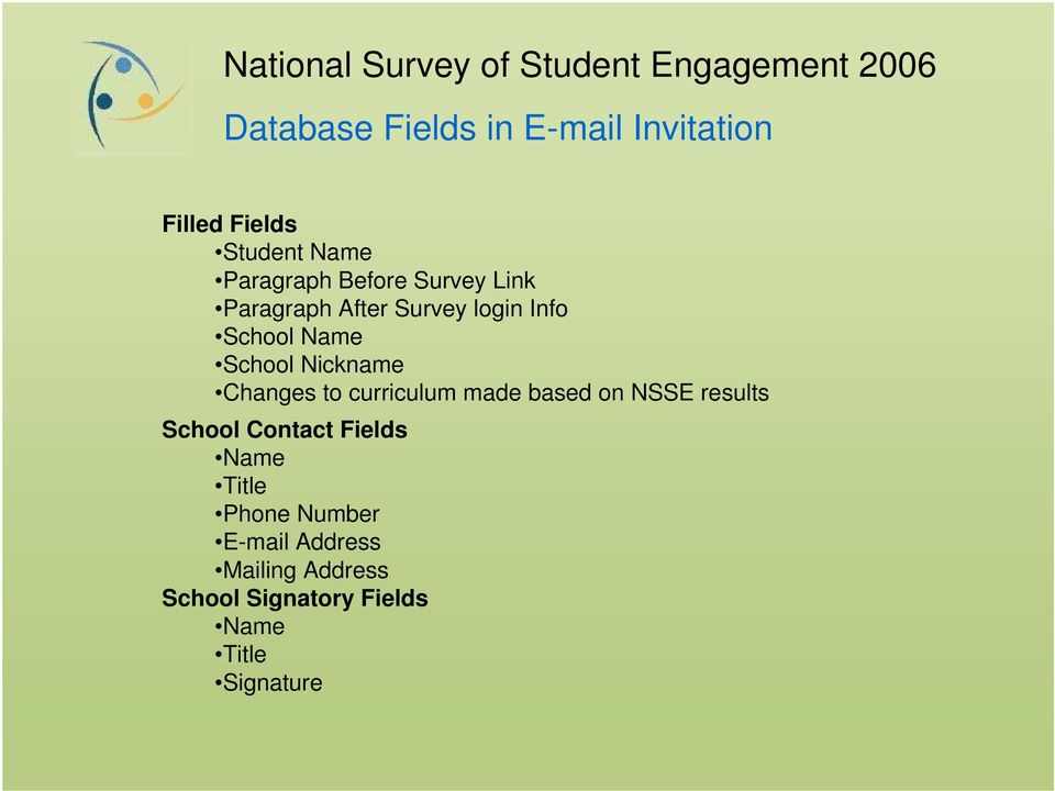 to curriculum made based on NSSE results School Contact Fields Name Title Phone