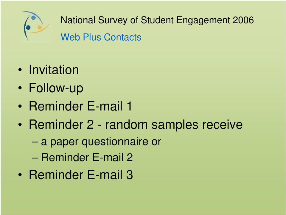 samples receive a paper questionnaire