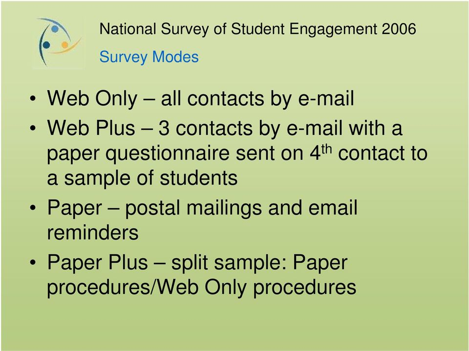 contact to a sample of students Paper postal mailings and